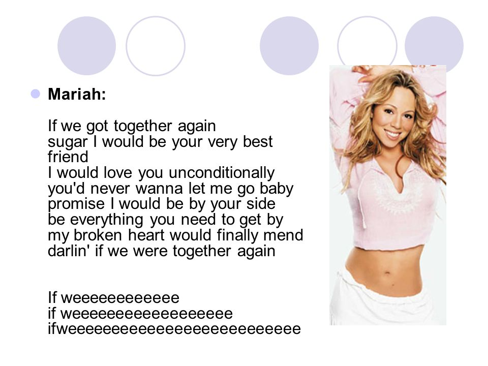 Mariah: If we got together again sugar I would be your very best friend I would love you unconditionally you d never wanna let me go baby promise I would be by your side be everything you need to get by my broken heart would finally mend darlin if we were together again If weeeeeeeeeeee if weeeeeeeeeeeeeeeeee ifweeeeeeeeeeeeeeeeeeeeeeeeee