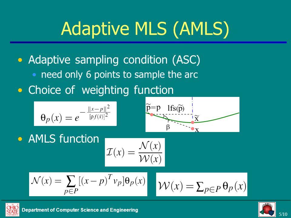 Adaptive MLS (AMLS) Adaptive sampling condition (ASC)