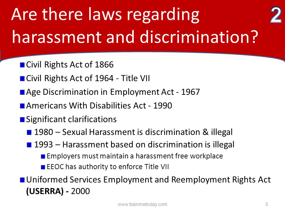 Are there laws regarding harassment and discrimination