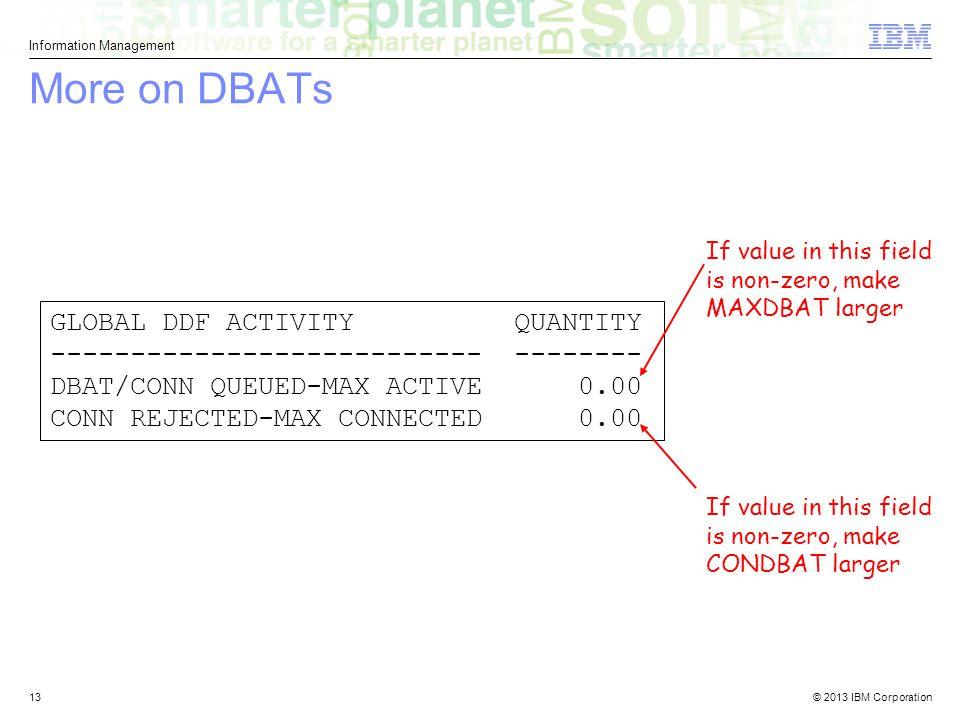 More on DBATs GLOBAL DDF ACTIVITY QUANTITY