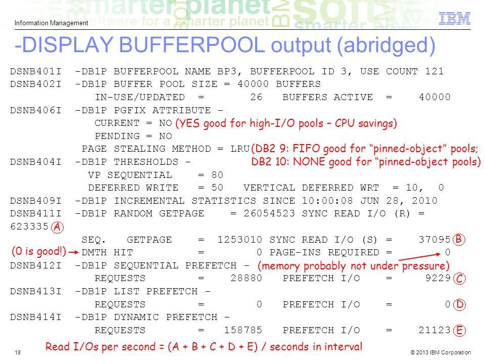 -DISPLAY BUFFERPOOL output (abridged)