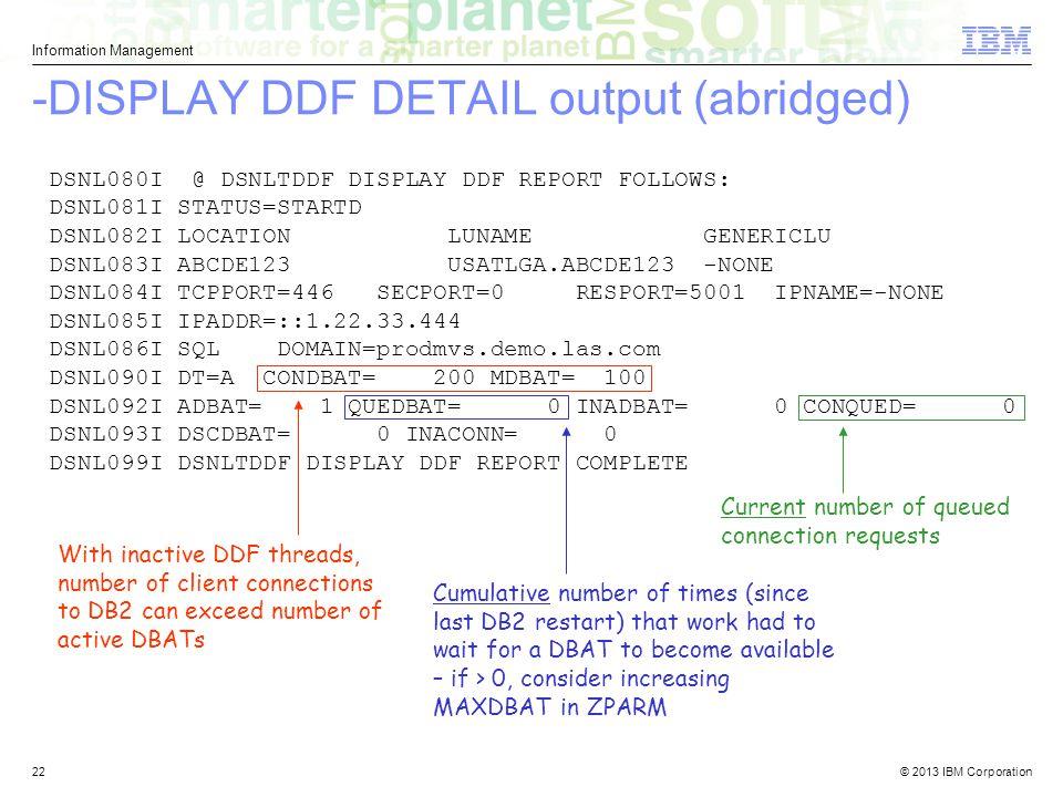 -DISPLAY DDF DETAIL output (abridged)
