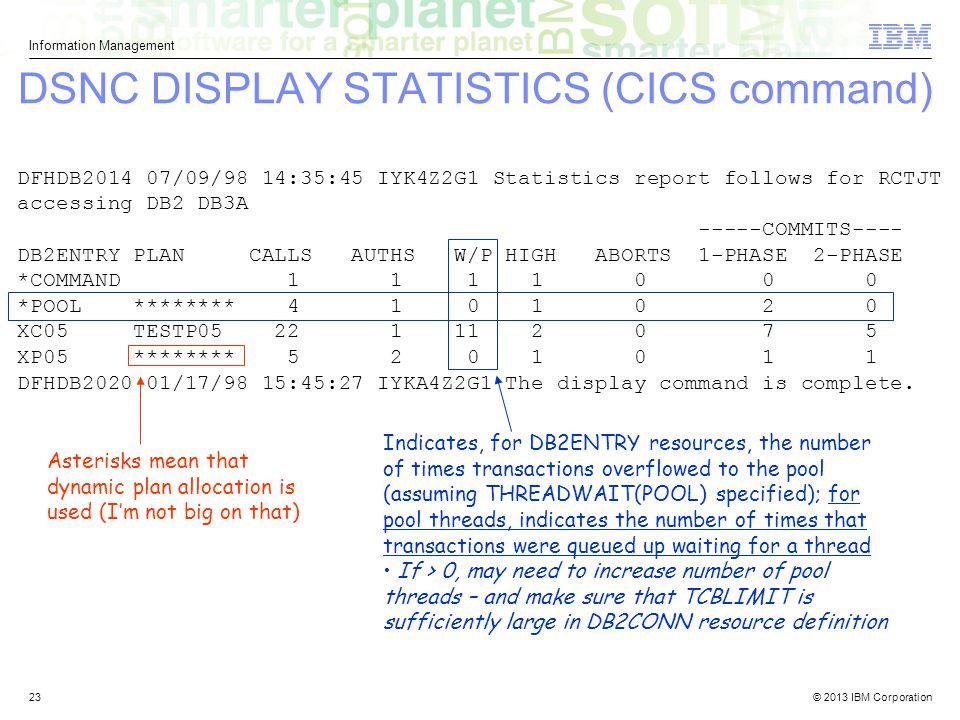 DSNC DISPLAY STATISTICS (CICS command)
