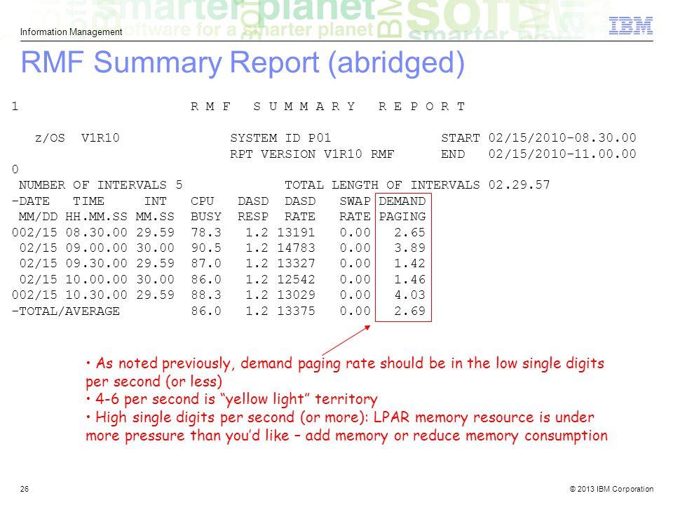 RMF Summary Report (abridged)