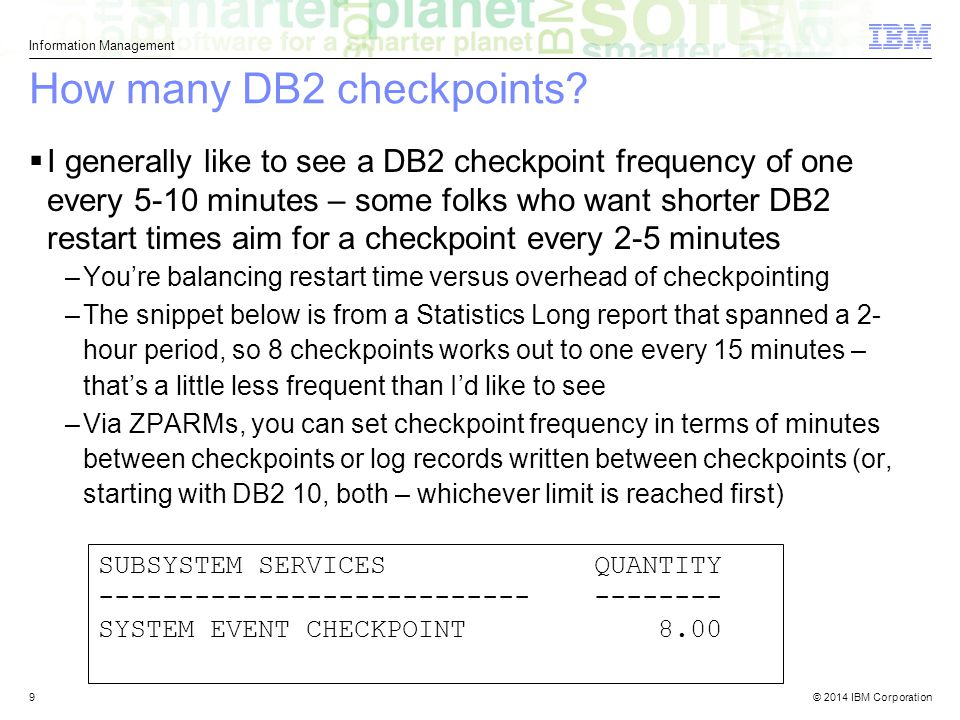 How many DB2 checkpoints