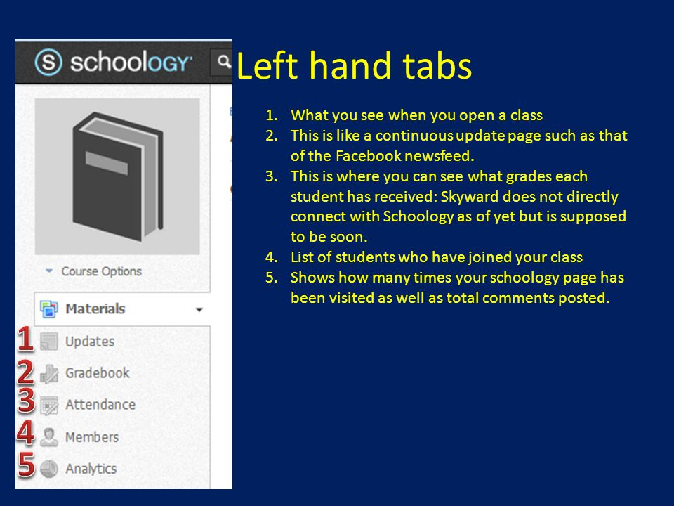 Left hand tabs 1 2 3 4 5 What you see when you open a class
