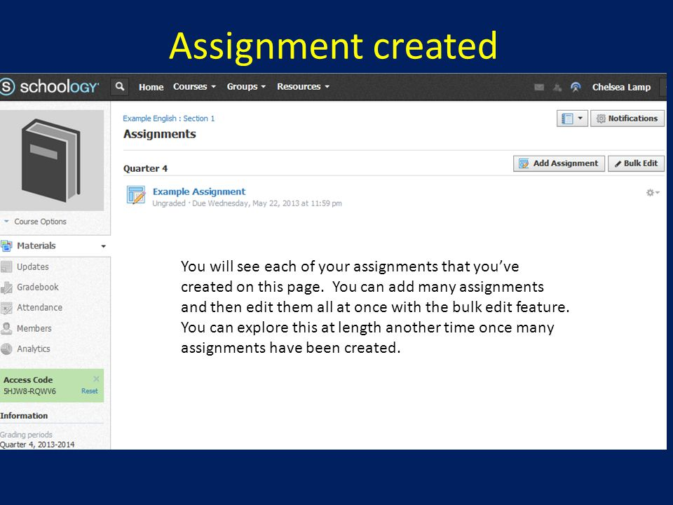 Assignment created