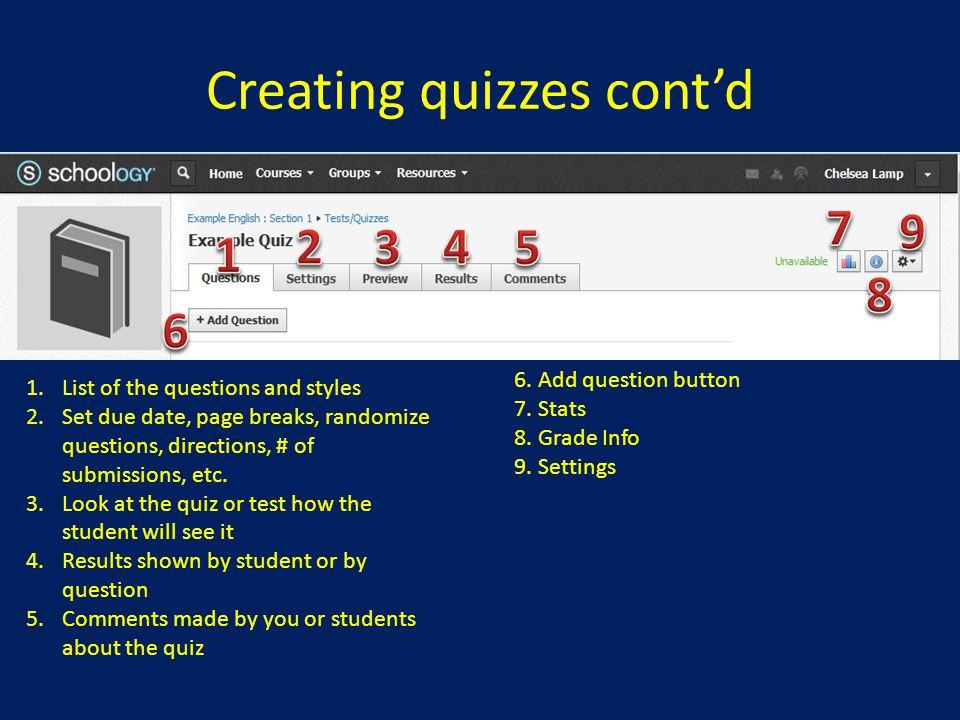 Creating quizzes cont'd