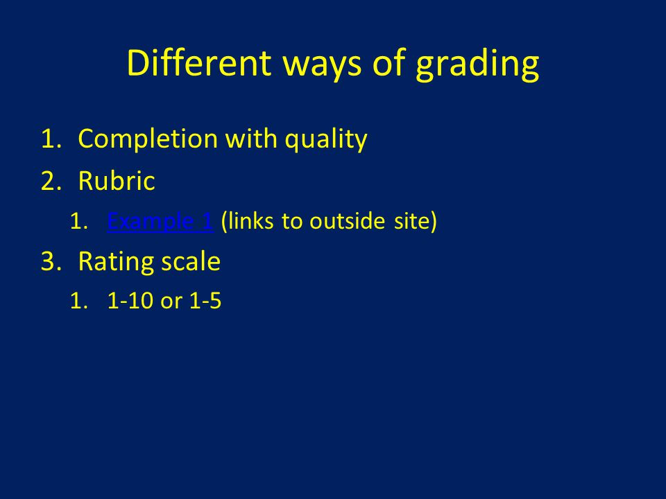 Different ways of grading