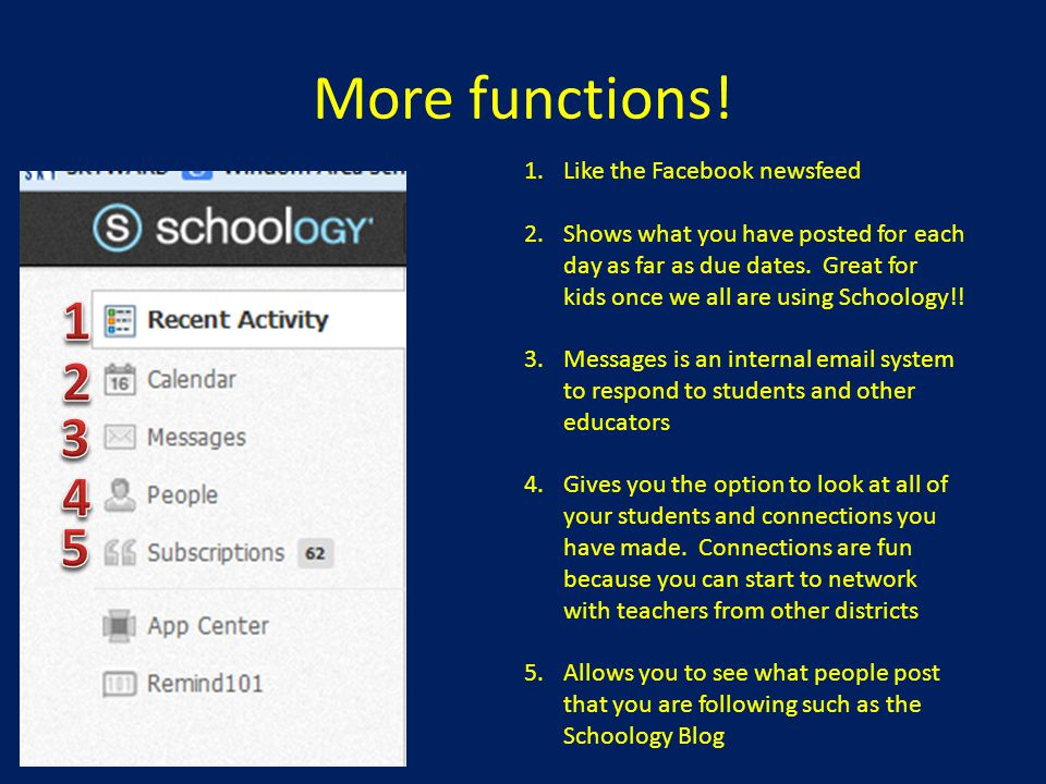 More functions! 1 2 3 4 5 Like the Facebook newsfeed