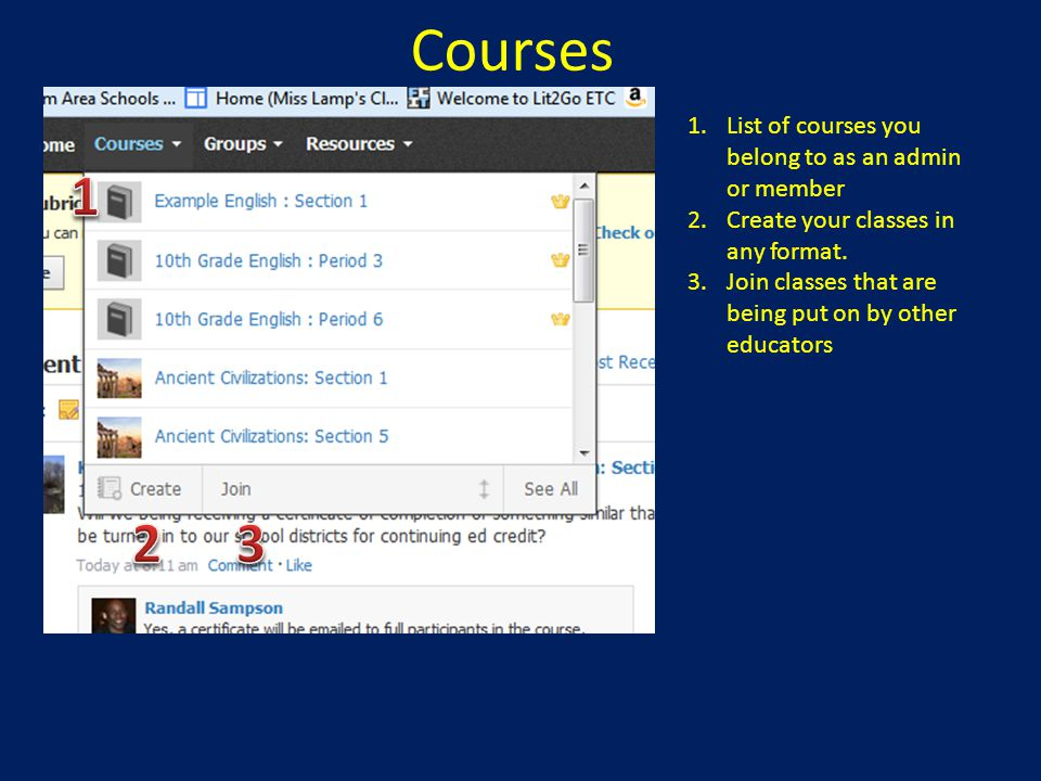 Courses 1 2 3 List of courses you belong to as an admin or member
