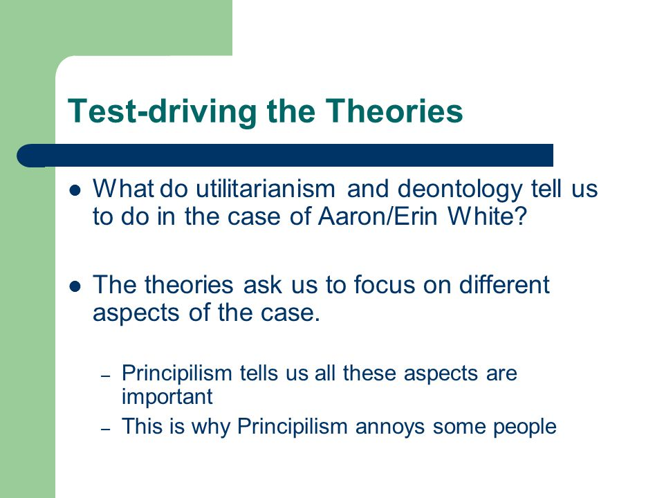 Test-driving the Theories