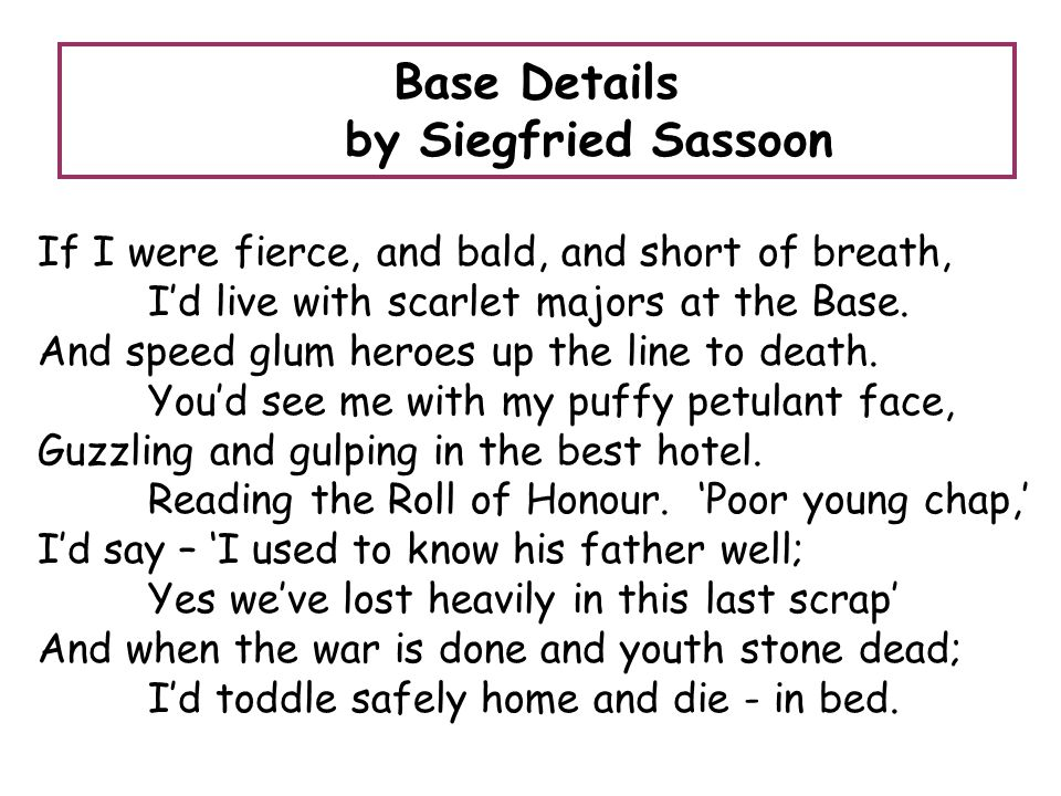 Base Details by Siegfried Sassoon