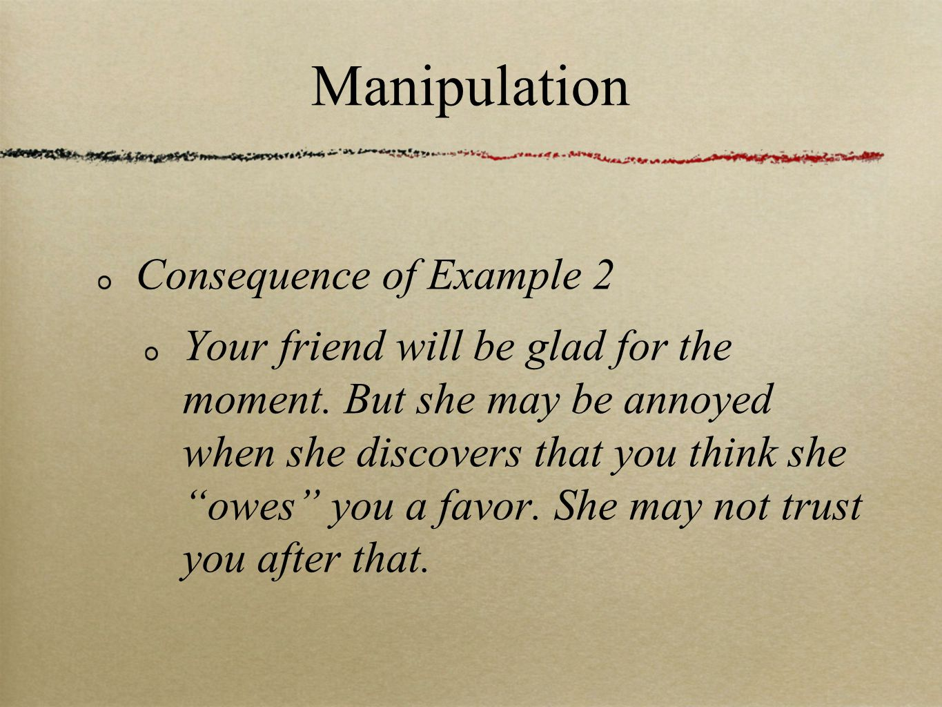 Manipulation Consequence of Example 2