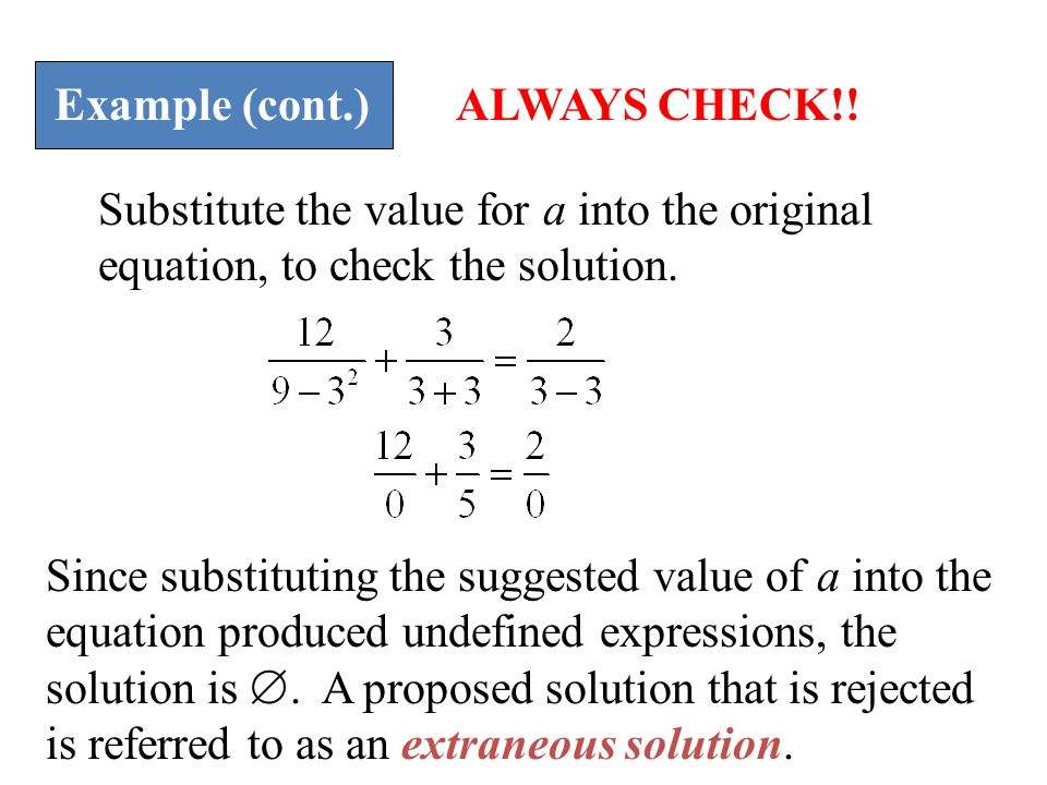 Example (cont.) ALWAYS CHECK!! Substitute the value for a into the original equation, to check the solution.