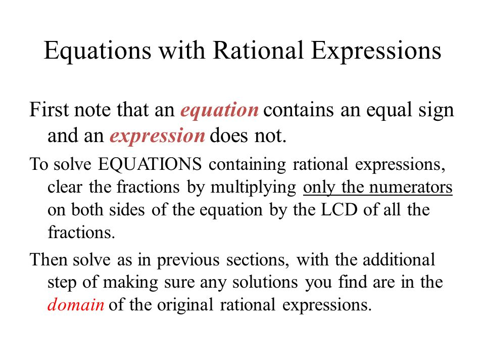 Equations with Rational Expressions