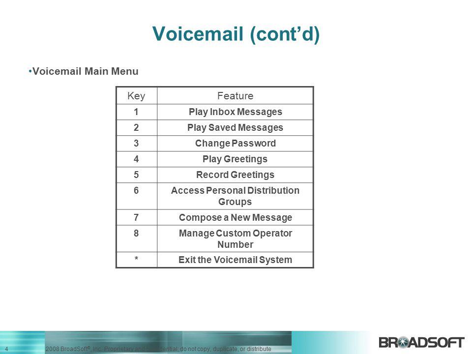 Voicemail (cont'd) Voicemail Main Menu Key Feature 1