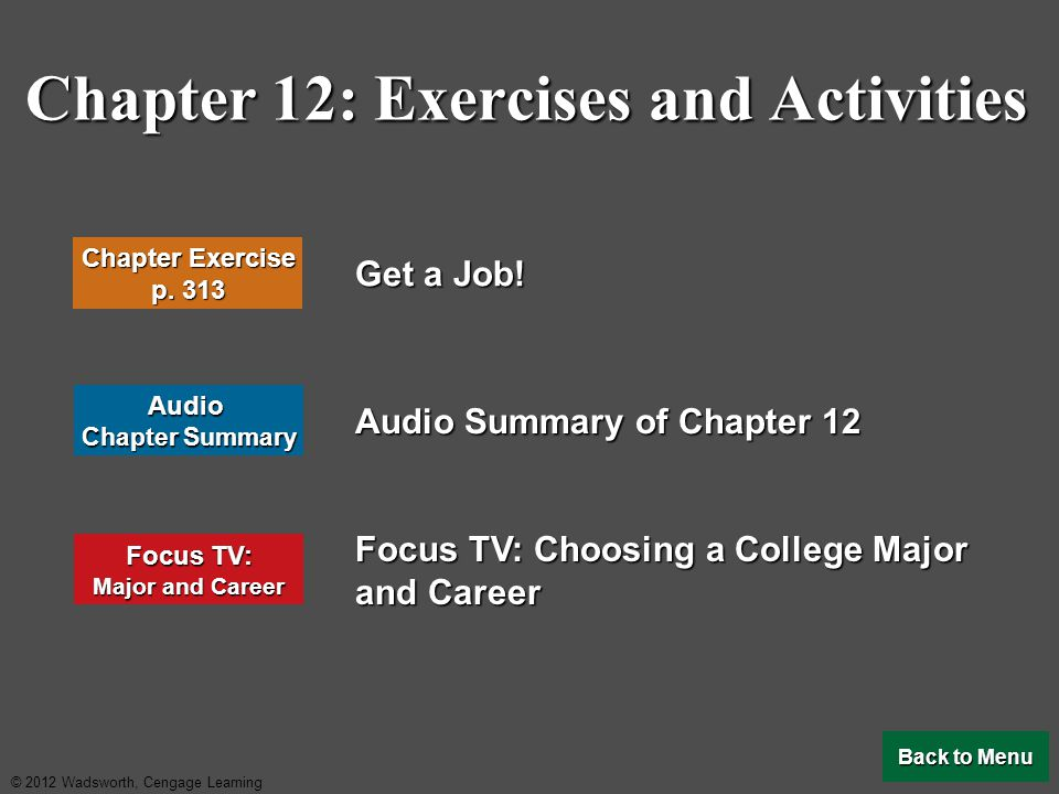 Chapter 12: Exercises and Activities
