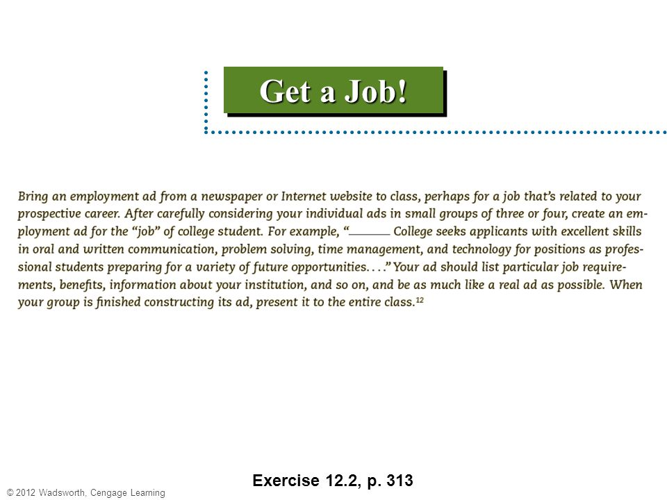 Get a Job! Exercise 12.2, p. 313