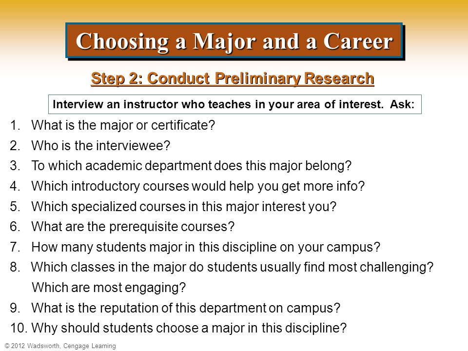 Choosing a Major and a Career