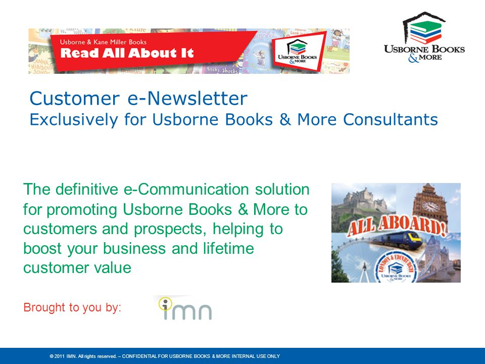 Customer e-Newsletter Exclusively for Usborne Books & More Consultants