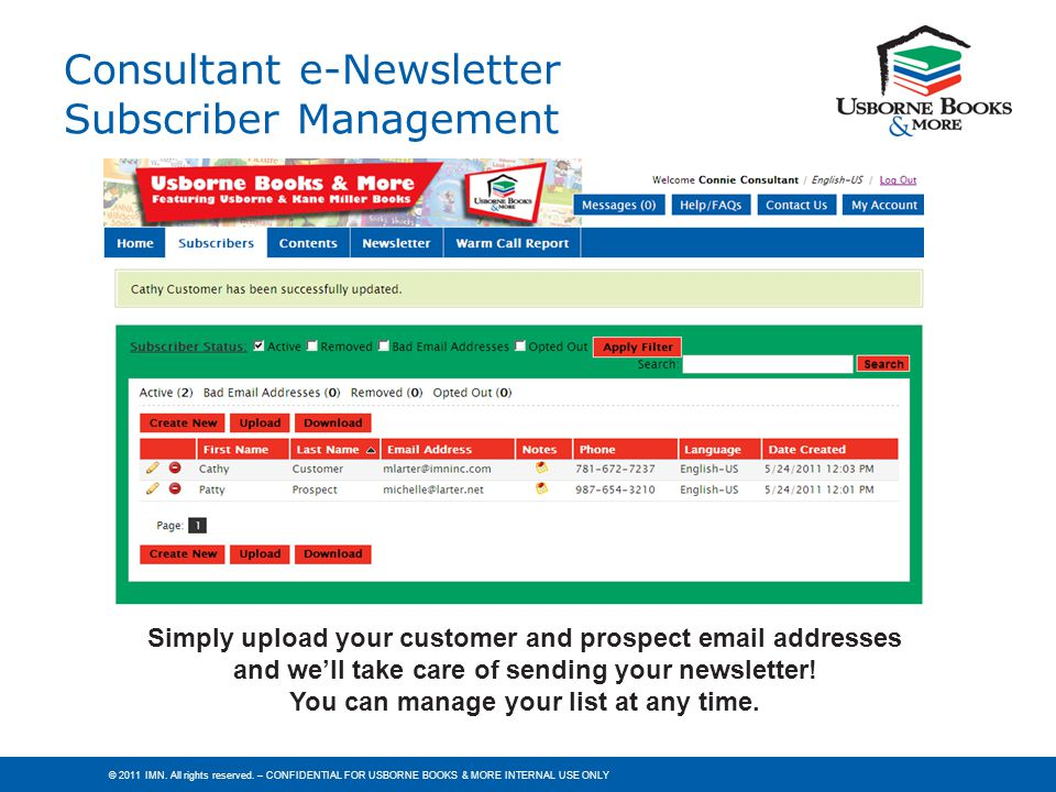 Consultant e-Newsletter Subscriber Management
