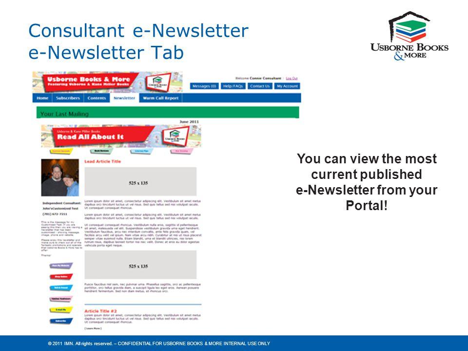 Consultant e-Newsletter e-Newsletter Tab