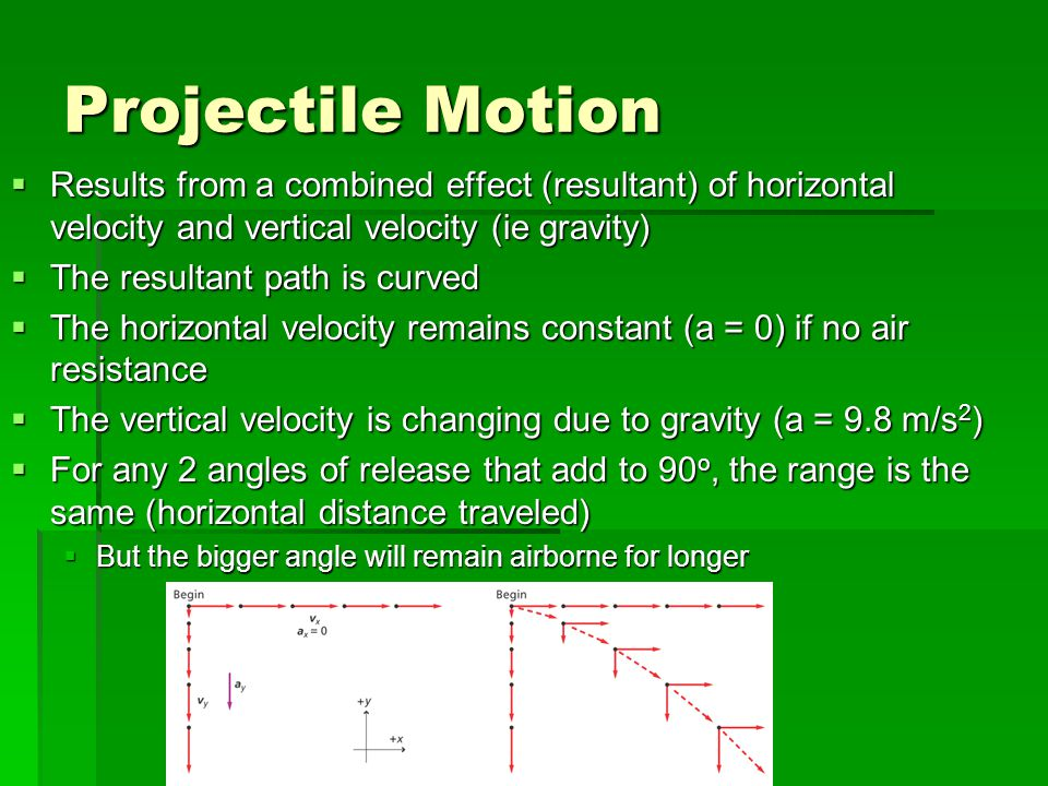 Projectile Motion Results from a combined effect (resultant) of horizontal velocity and vertical velocity (ie gravity)