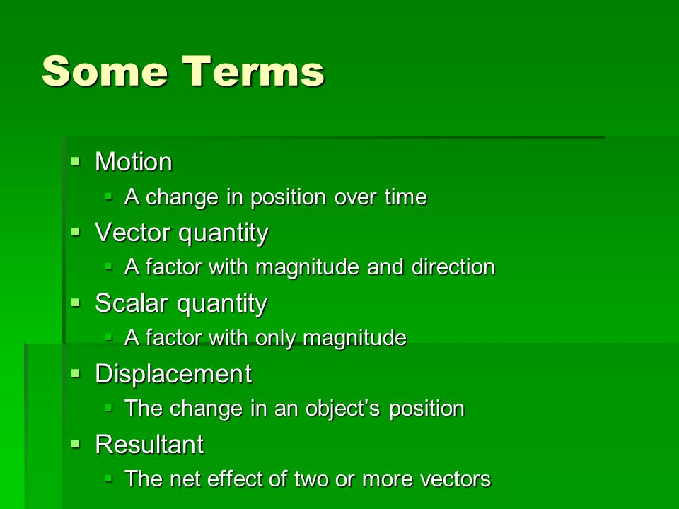 Some Terms Motion Vector quantity Scalar quantity Displacement