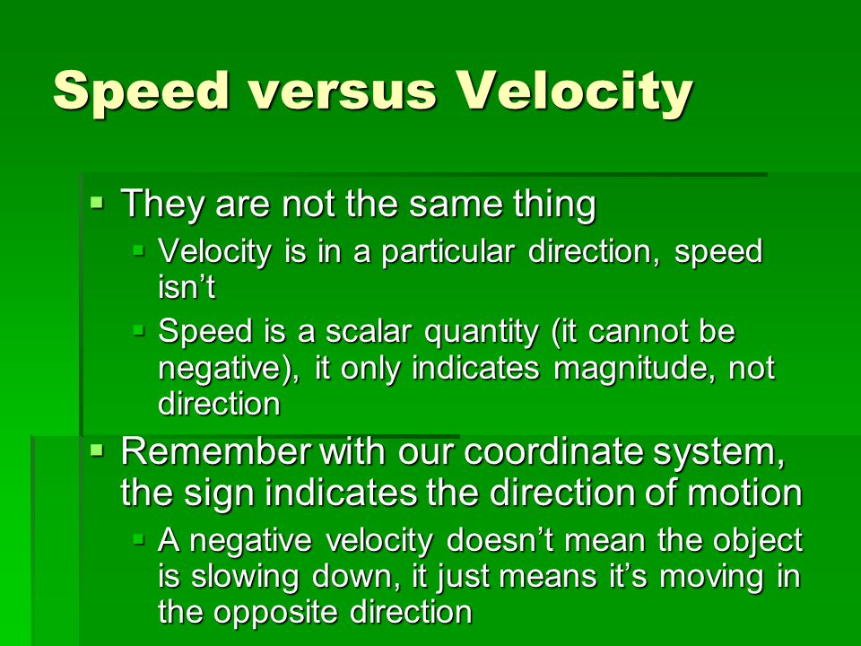 Speed versus Velocity They are not the same thing
