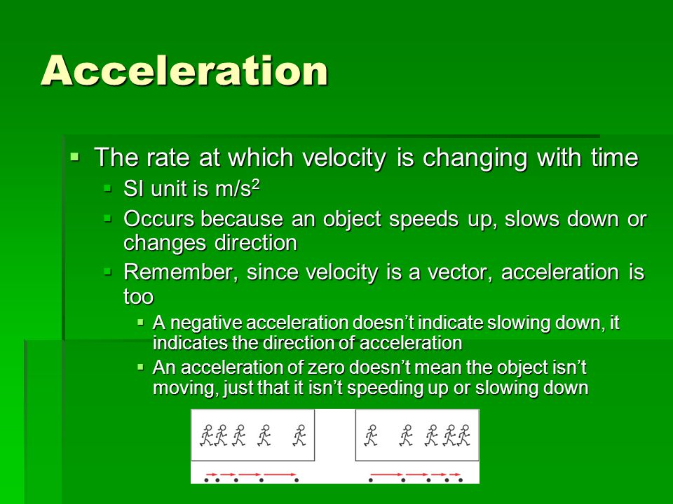 Acceleration The rate at which velocity is changing with time
