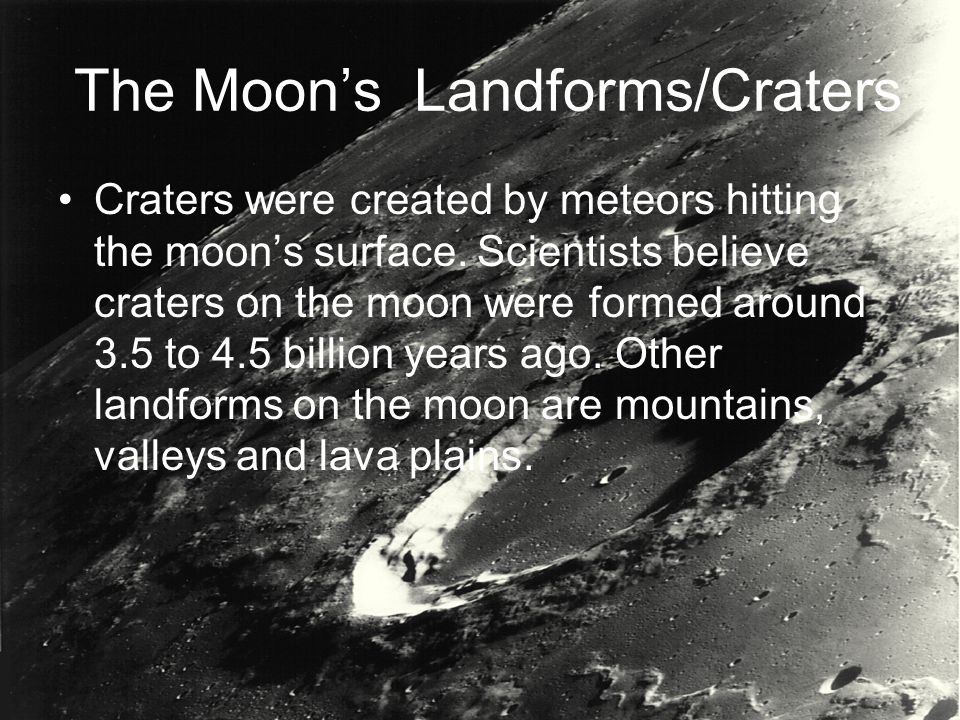 The Moon's Landforms/Craters