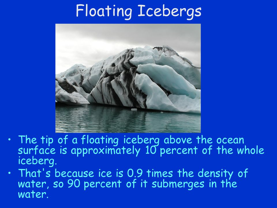 Floating Icebergs The tip of a floating iceberg above the ocean surface is approximately 10 percent of the whole iceberg.
