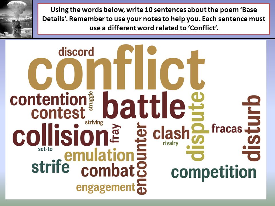 Using the words below, write 10 sentences about the poem 'Base Details'.