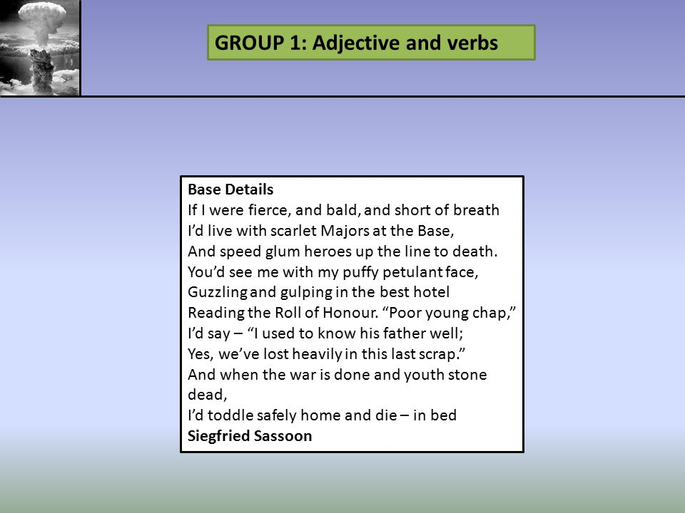 GROUP 1: Adjective and verbs