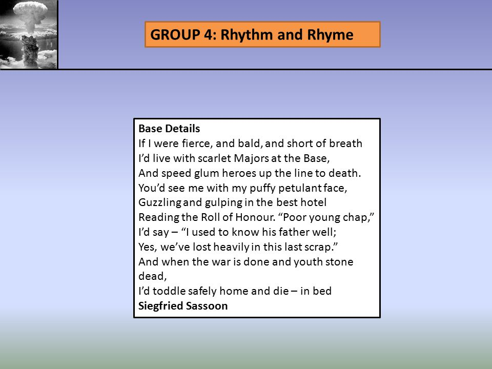 GROUP 4: Rhythm and Rhyme