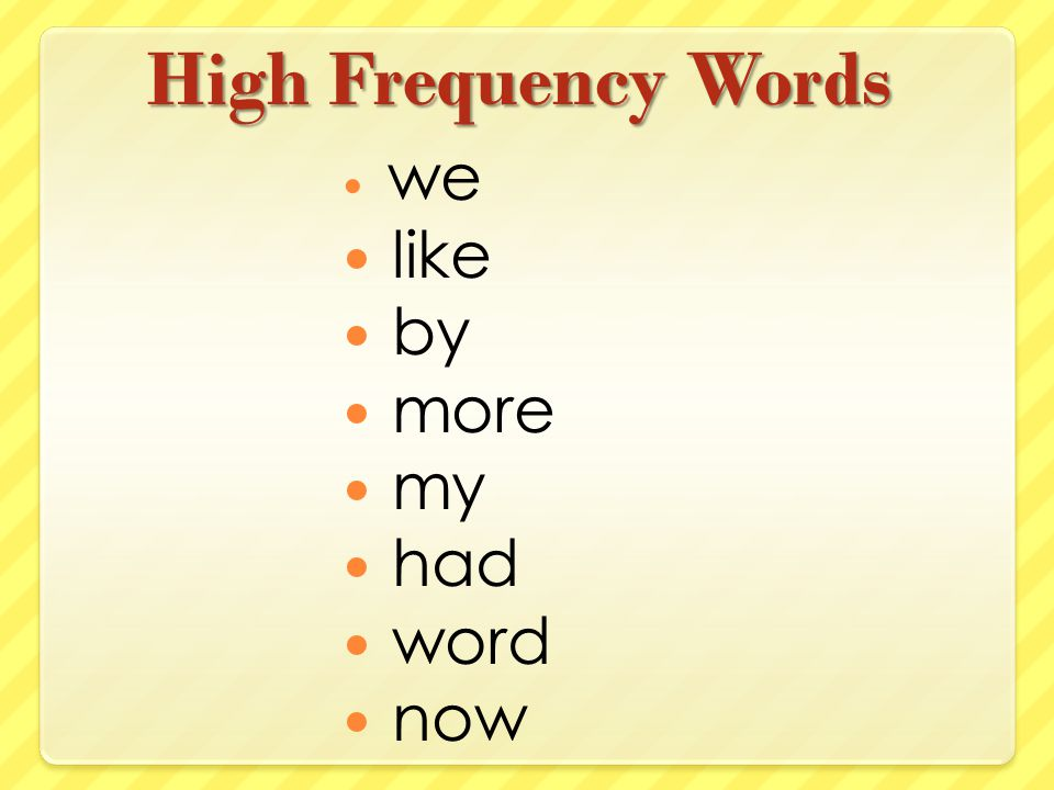 High Frequency Words we like by more my had word now