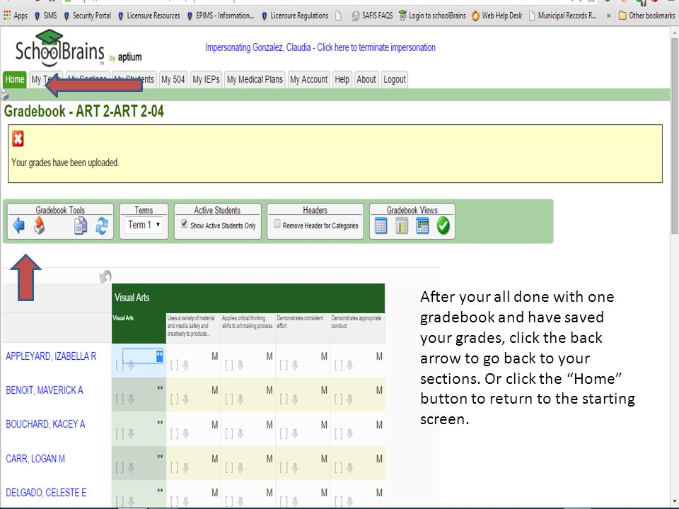 After your all done with one gradebook and have saved your grades, click the back arrow to go back to your sections.