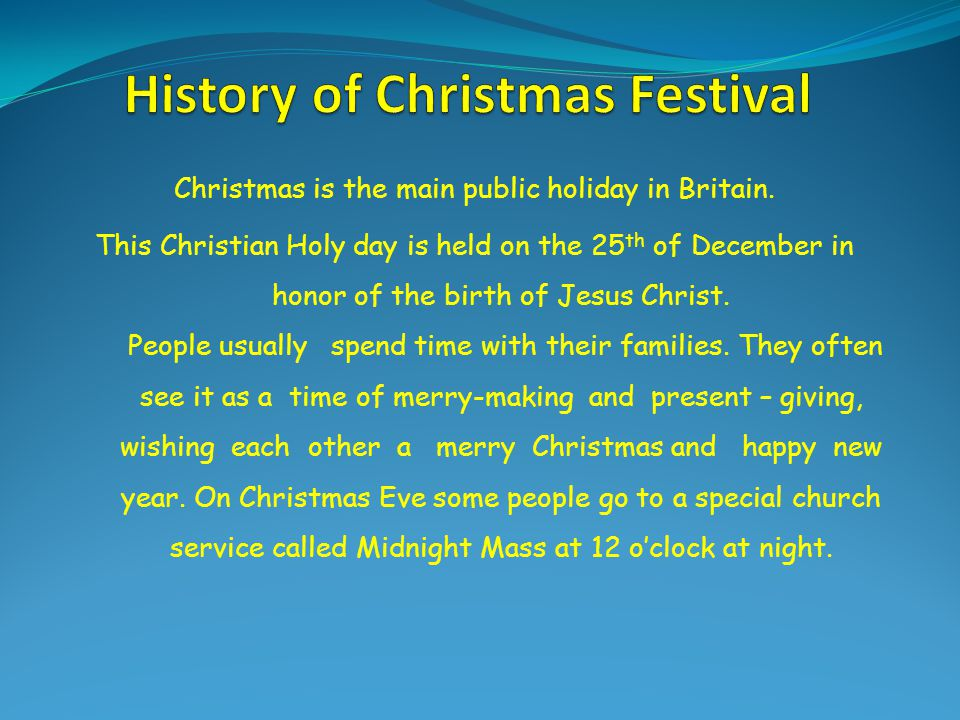 History of Christmas Festival