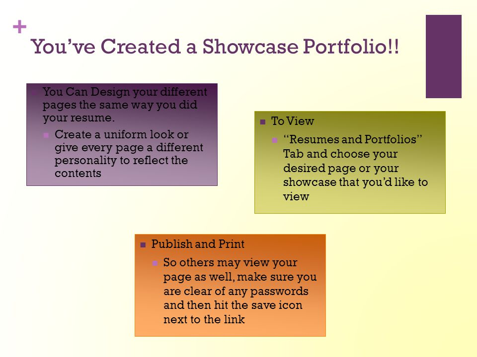 You've Created a Showcase Portfolio!!