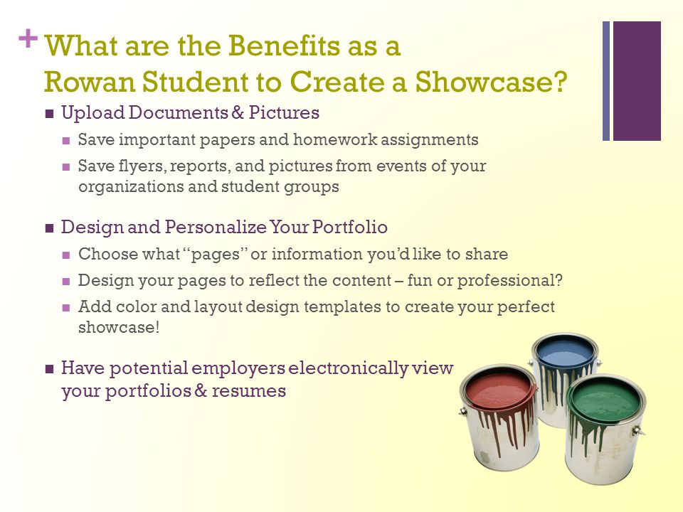 What Are The Benefits As A Rowan Student To Create A Showcase