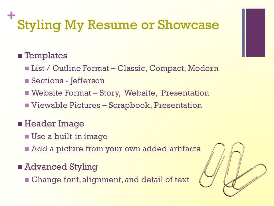 Styling My Resume or Showcase