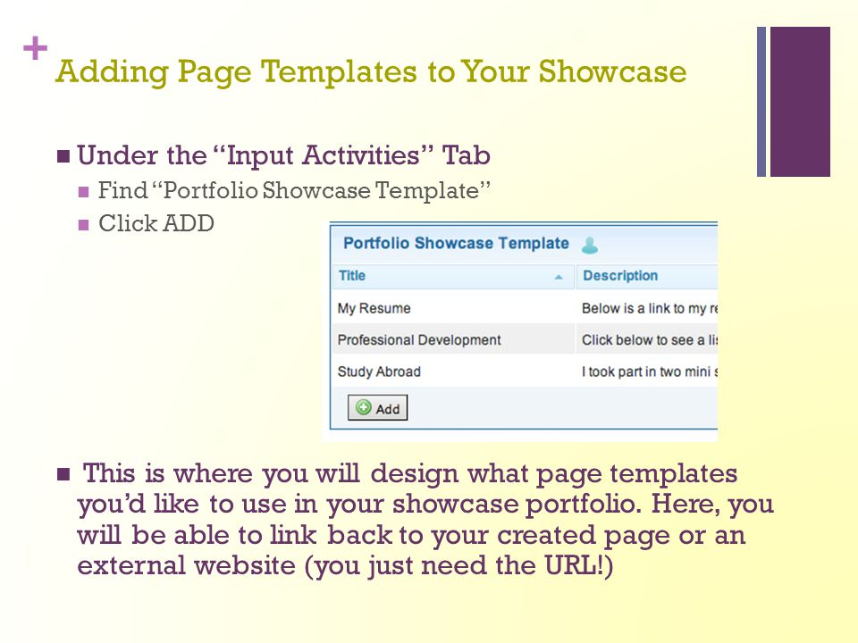 Adding Page Templates to Your Showcase