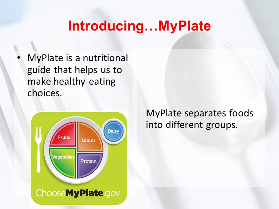 Introducing…MyPlate MyPlate separates foods into different groups.