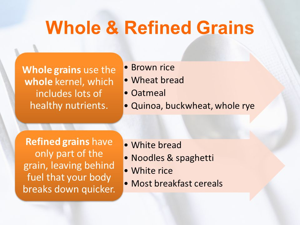 Whole & Refined Grains Brown rice. Wheat bread. Oatmeal. Quinoa, buckwheat, whole rye.