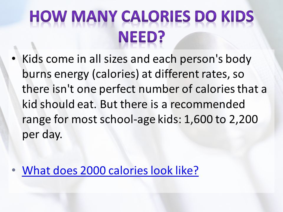 How Many Calories Do Kids Need