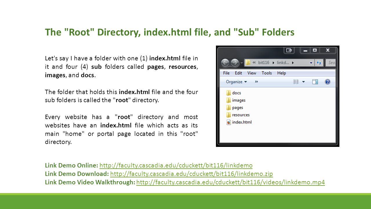 The Root Directory, index.html file, and Sub Folders