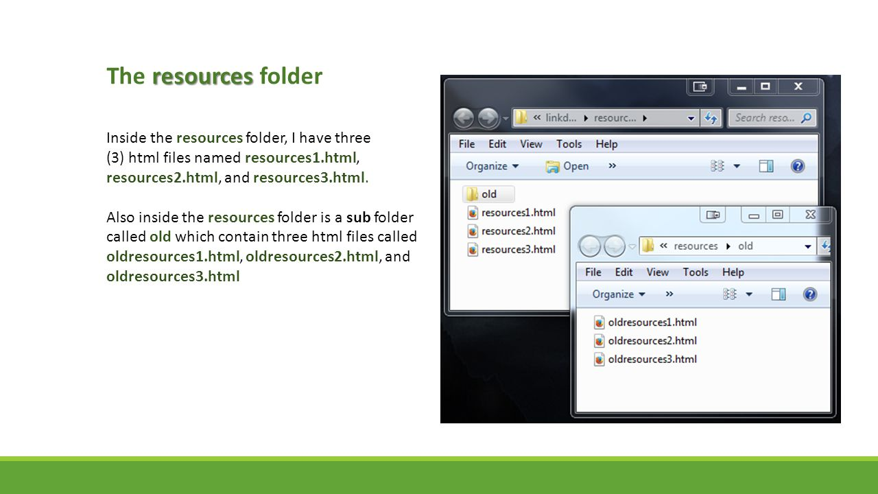 The resources folder Inside the resources folder, I have three (3) html files named resources1.html, resources2.html, and resources3.html.