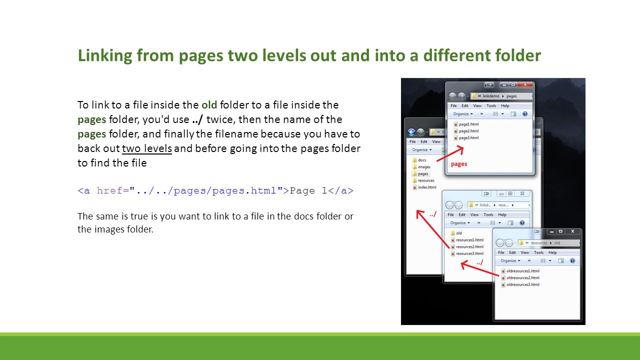 Linking from pages two levels out and into a different folder