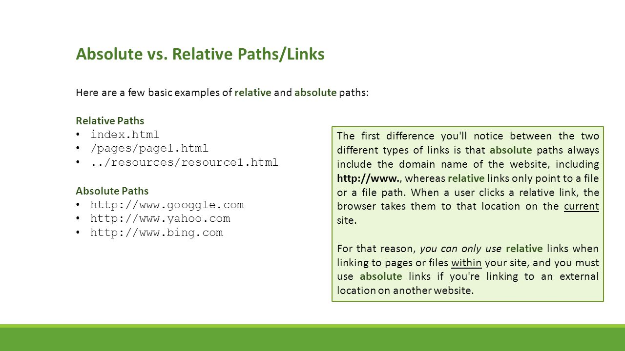 Absolute vs. Relative Paths/Links